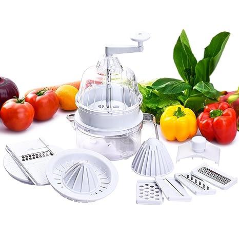 Topop - Máquina multifunción, cortador de verduras en espiral + rallador de verduras con 5