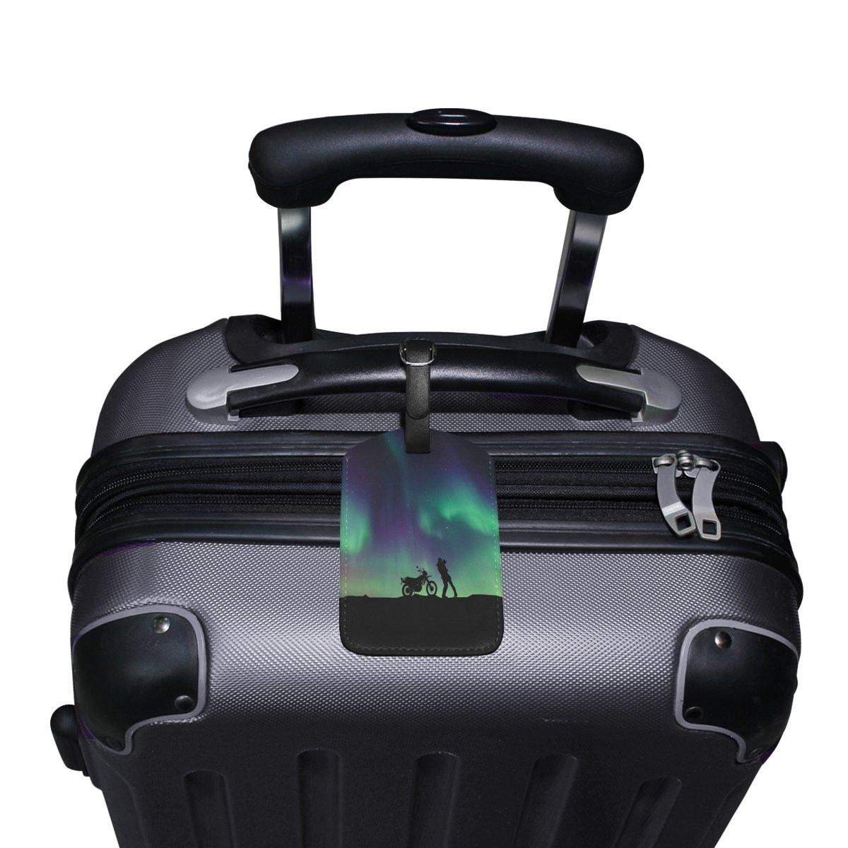 1Pcs Saobao Travel Luggage Tag Sky Aurora PU Leather Baggage Suitcase Travel ID Bag Tag