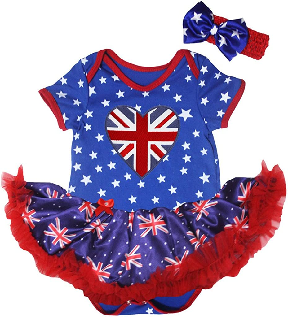 Petitebelle British Heart Bodysuit Tutu Nb-18m