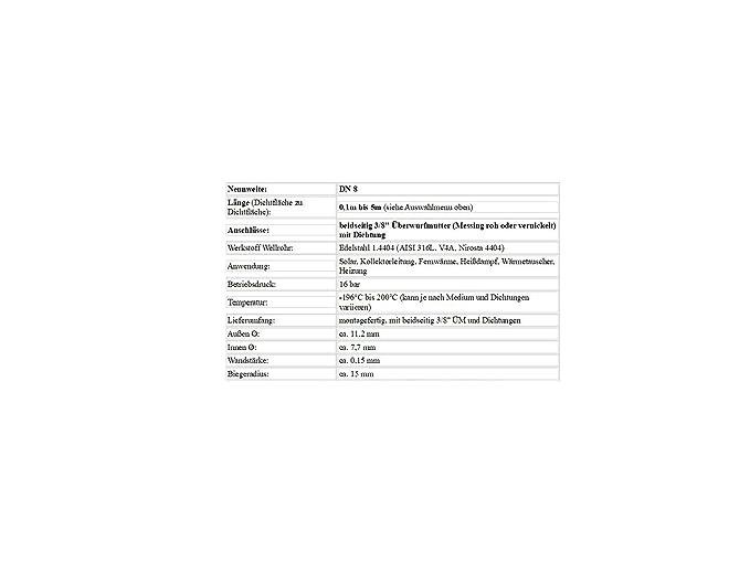 DN8 Edelstahlwellrohr 300 cm beidseitig 3//8 /ÜM enggewellt /& fertig montiert