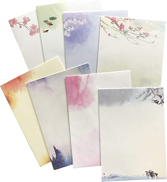 8 Different Style,H201 64 Vintage Retro Design Writing Stationery Paper Pad Letter Set with 24 envelopes