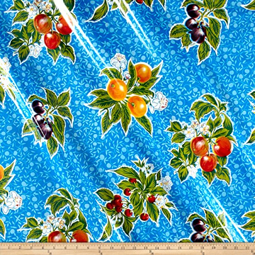 Oilcloth Summer Fruit Blue Fabric By The Yard