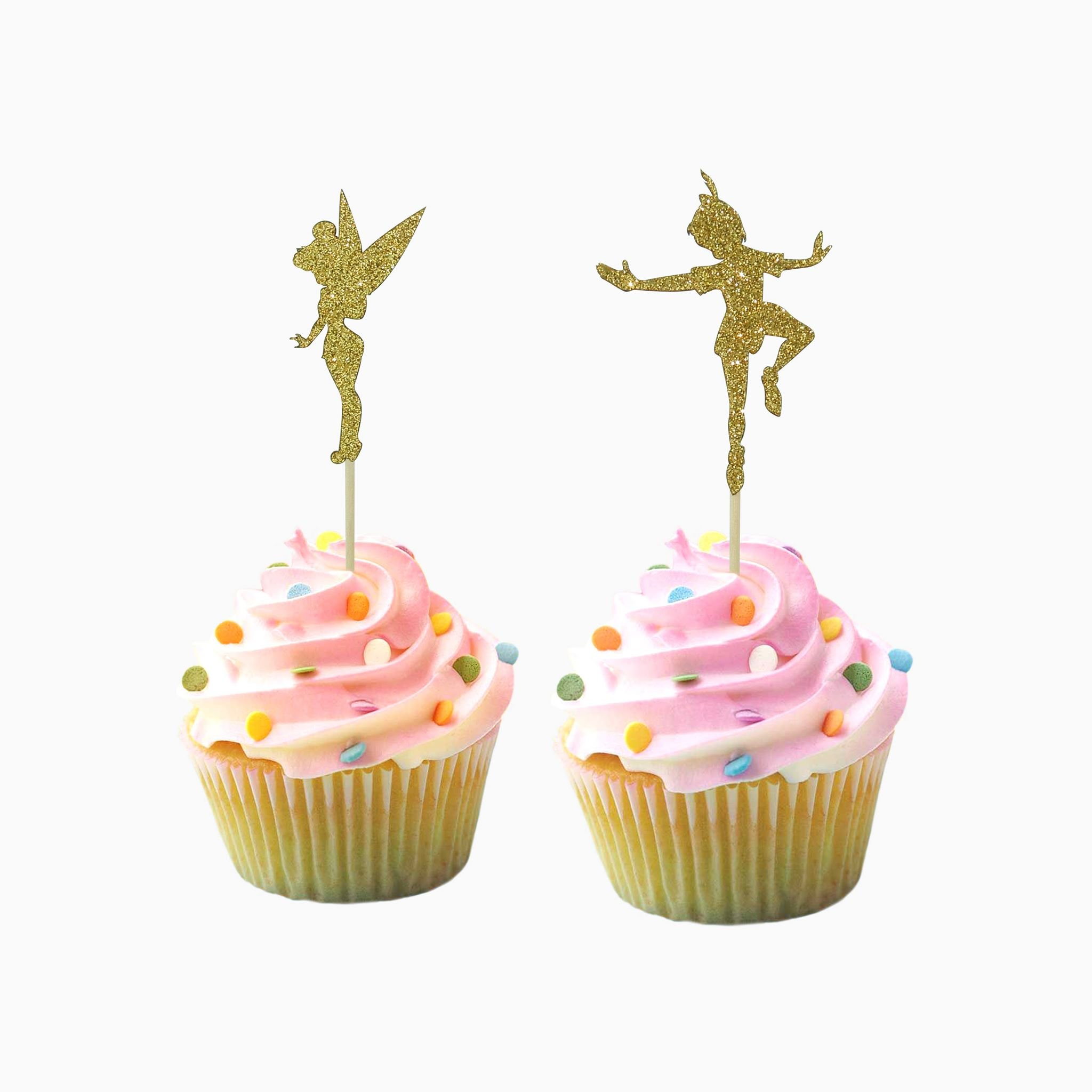 Peter Pan Tinker Bell inspired Party Wedding Birthday Cupcake Topper cardstock Color Gold 12 pc Pack Decoration