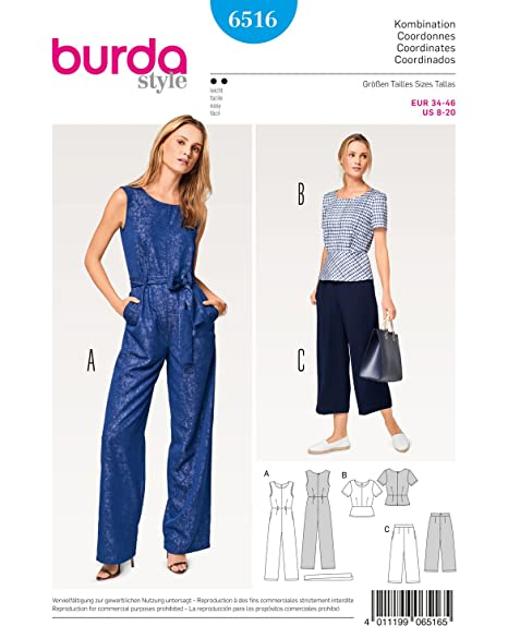 BURDA SEWING PATTERN MISSES\' JUMPSUIT SIZE 8 - 20 BURDA 6516: Amazon ...