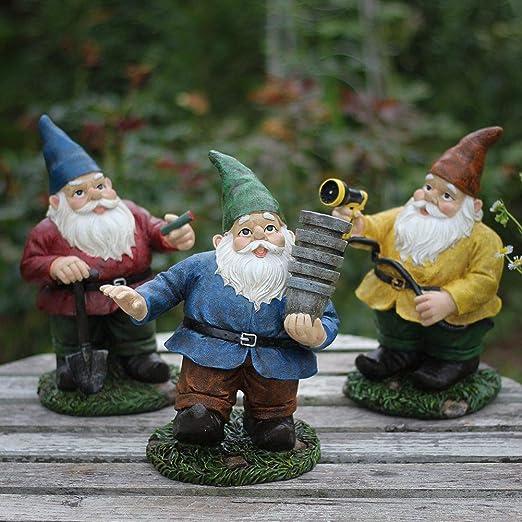 HomDSim Estatuas de gnomo divertidas de jardín de 9 pulgadas para decoración de jardín, decoración para fumar, regar, plantar flores, gnomo enano y elfo, Paquete de 3 unidades.: Amazon.es: Hogar