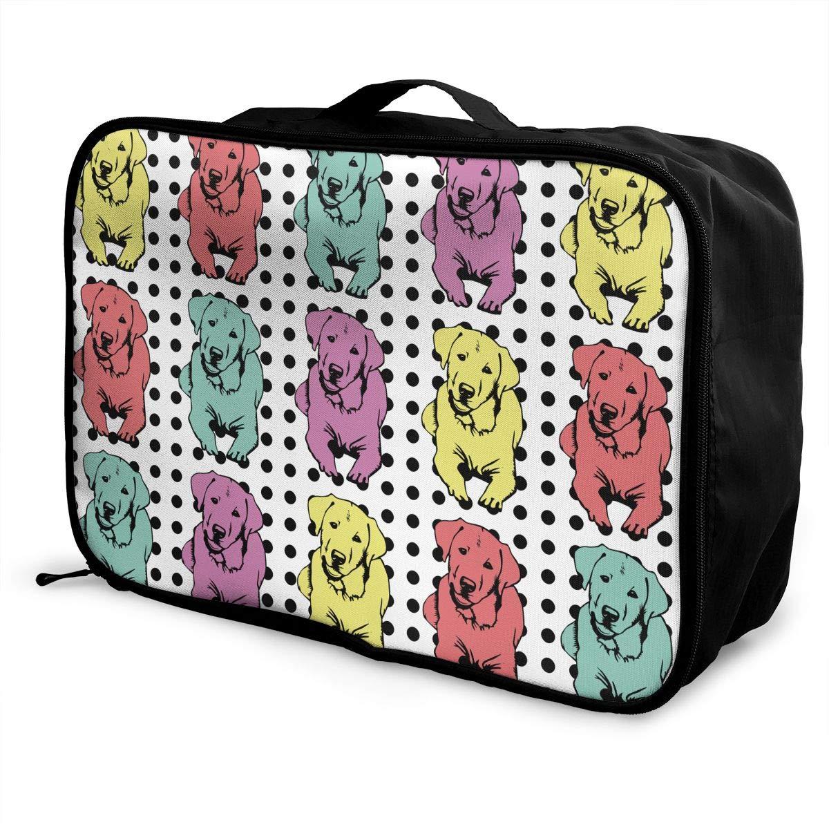 YueLJB Dot Art Labrador Retriever Lightweight Large Capacity Portable Luggage Bag Travel Duffel Bag Storage Carry Luggage Duffle Tote Bag