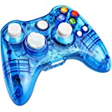 Kycola Xbox 360 Controller GC21 Wireless PC Gamepad LED Controller Transparent Joystick For Xbox 360/PC(Blue)