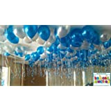 BALLOON JUNCTION Balloons Metallic HD (BLUE + SILVER) - Pack of 50 quality balloons