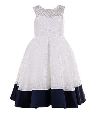 554cd8947 Amazon.com  Princhar Ivory Navy Lace Flower Girl Dress Kids Girls ...
