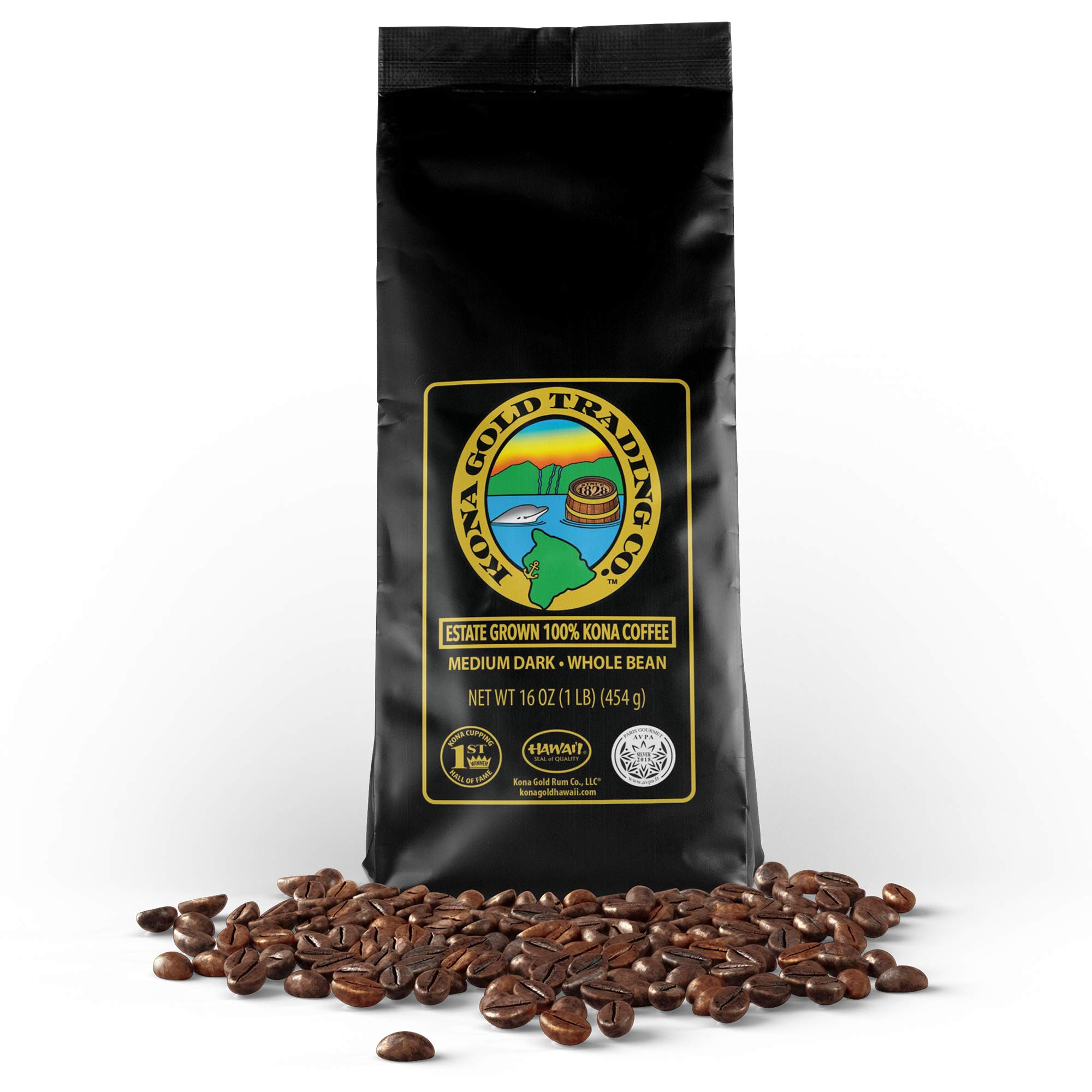 Kona Gold Coffee Whole Beans - 16 oz, by Kona Gold Rum Co. - Medium/Dark Roast Extra Fancy - 100% Kona Coffee by Kona Gold