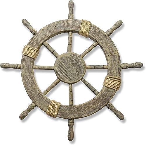 DecorField 24″ Wooden Ship Wheel