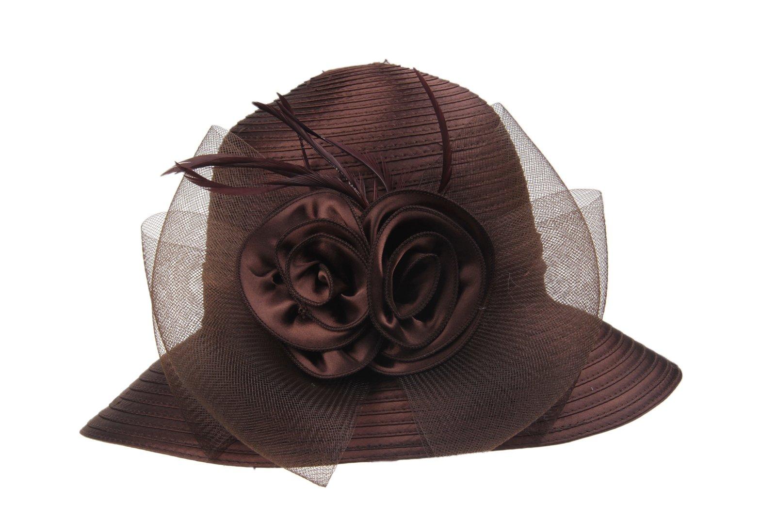 Prefe Lady's Kentucky Derby Dress Church Cloche Hat Bow Bucket Wedding Bowler Hats (Brown, One Size)