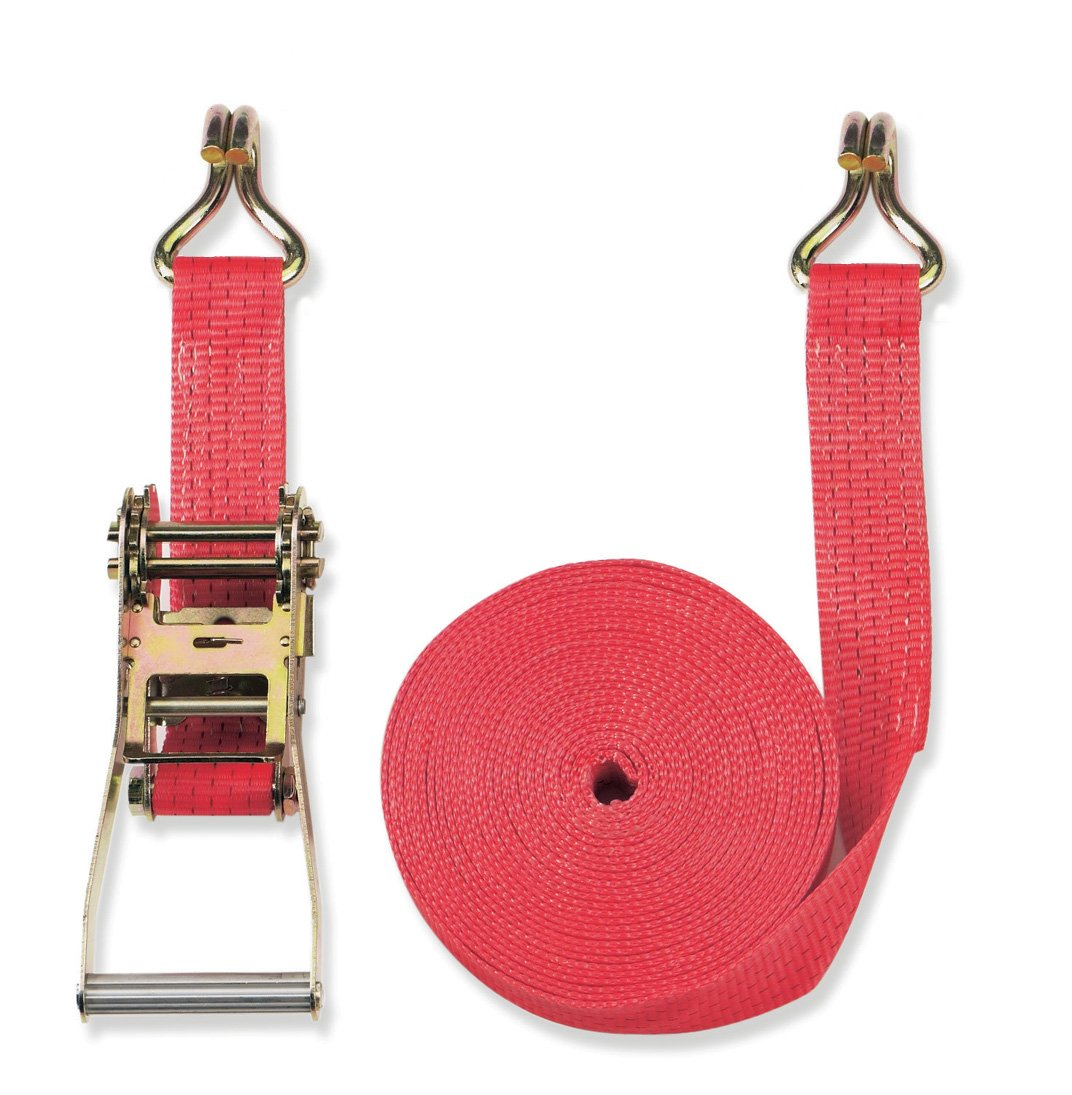 Color Red Braun 2500-2-800+4030 Lashing Strap 5000 daN Compliant with DIN EN 12195-2 Two-Piece for Professionals 8 m Long 50 mm Wide with Ratchet and Twin J Hook
