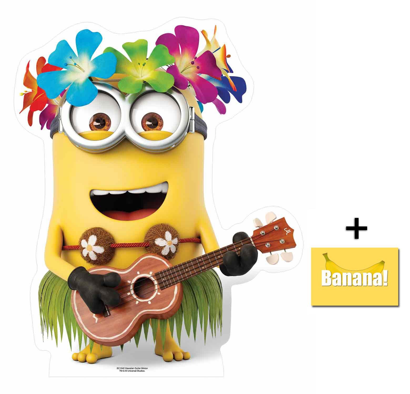 Fan Pack - Minion with Hawaiian Guitar Despicable Me 3 Minions Mini Cardboard Cutout / Standup / Standee - Includes 8x10 Star Photo