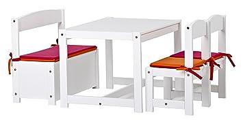 Hoppekids Mathilde Kindersitzgruppe Mit Kissenset In Rosa Und Orange Mit 1 Kindertisch 2 Kinderstühle Und 1 Bank Teilmassiv Sehr Stabil Holz Weiß