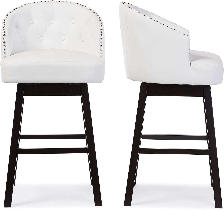 Baxton Studio Bar Stool 2-Piece Set, White