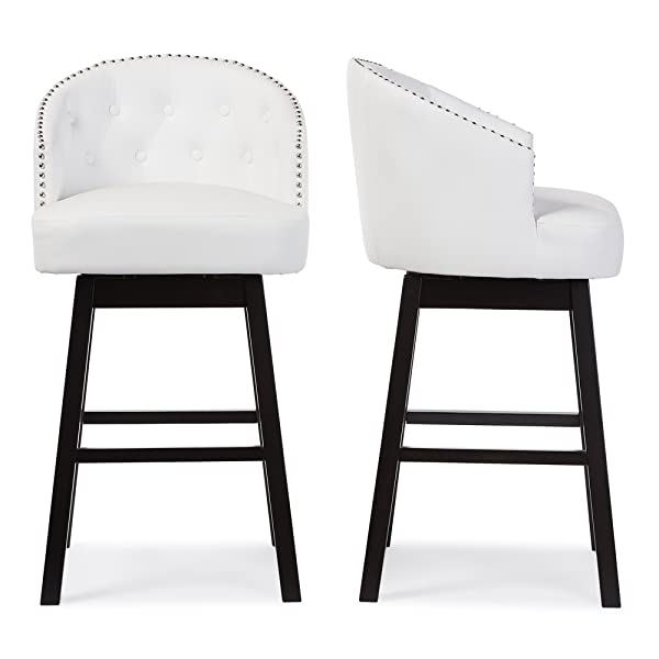 Baxton Studio Avril Modern & Contemporary Faux Leather Tufted Swivel Barstool with Nail Heads Trim (Set of 2), 21.45