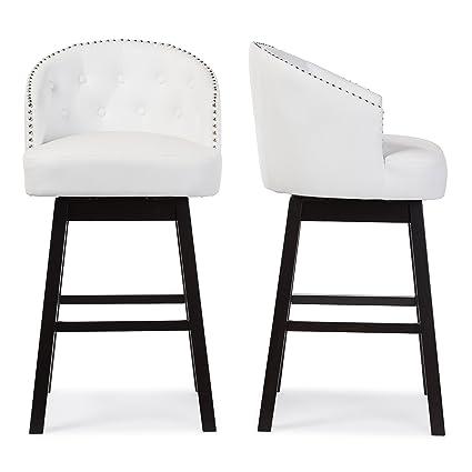 Awesome Baxton Studio Bar Stool 2 Piece Set White Theyellowbook Wood Chair Design Ideas Theyellowbookinfo