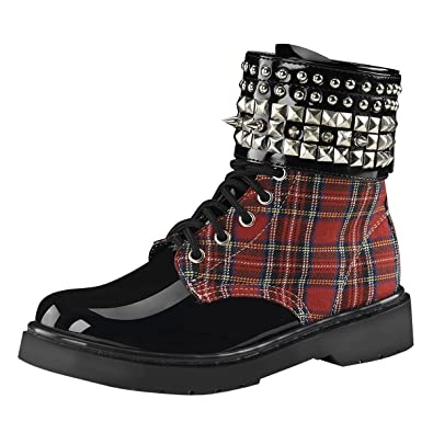 Womens Red Combat Boots Plaid Shoes Studded Cuff Black Lace Up 1 1/4 Inch Heel