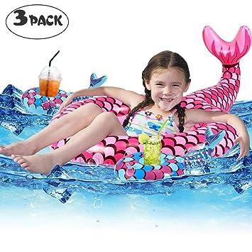 Tacobear Bebé Swim Ring Inflable Piscina Flotador Sirena Inflable Swim Ring Piscina Flotador Bebé Natación Juguete con 2 portavasos: Amazon.es: Juguetes y ...