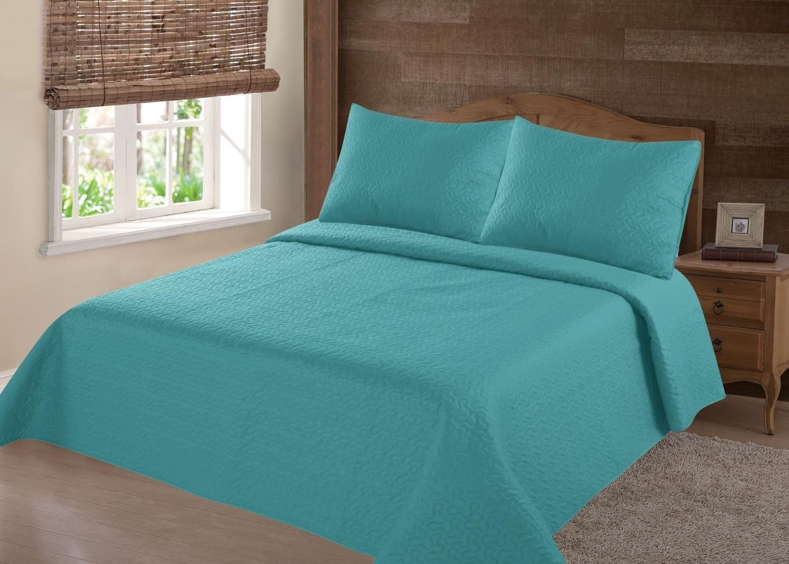 NEW 2/3PC NENA BED BEDSPREAD QUILT SET COVERLET SOLID STIPPLING STITCHE MODERN /Full -Turquoise
