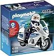 Playmobil 5185 - Jeu de Construction - Motard de Police avec Lumière Clignotante