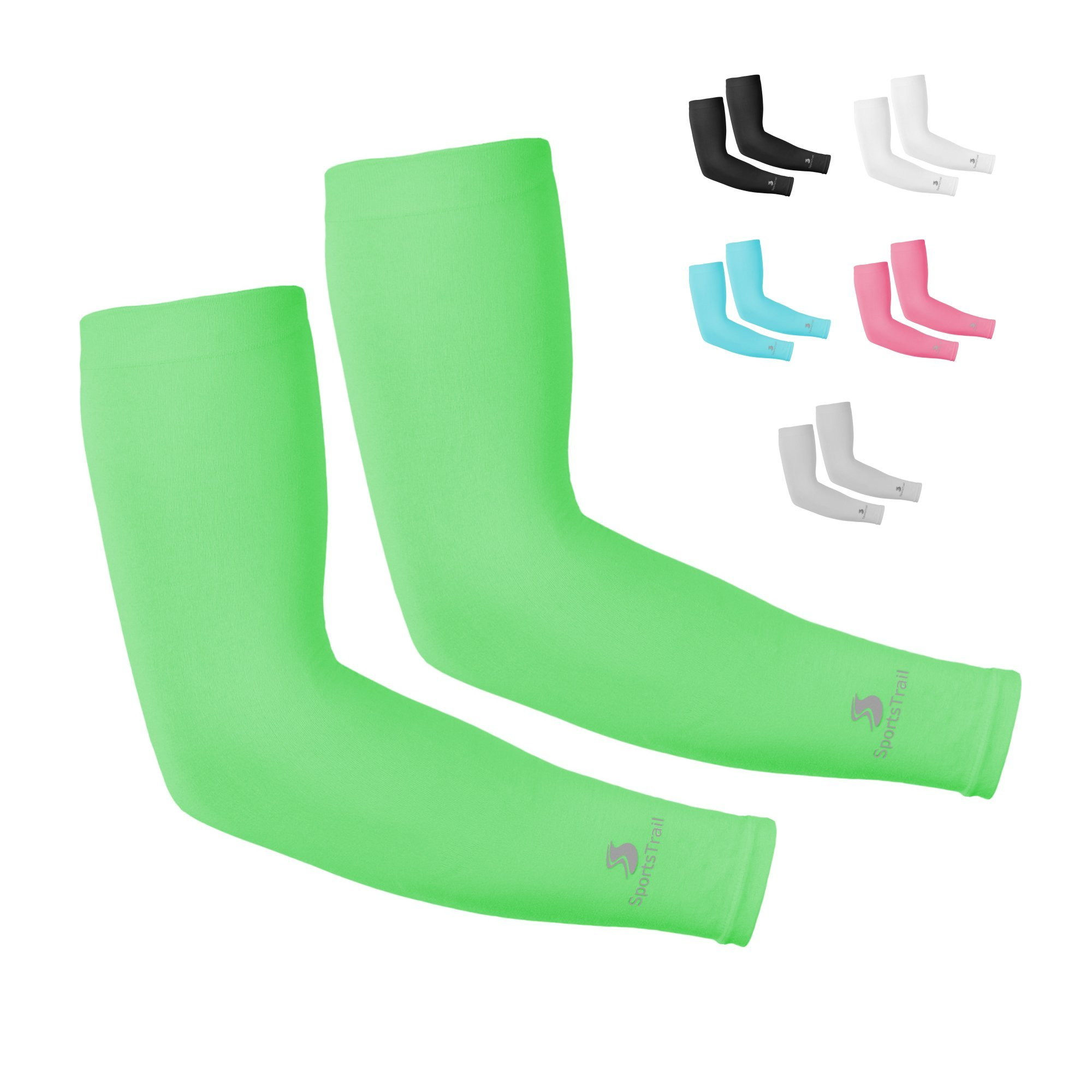 SportsTrail Arm Sleeves for Men & Women, Tatoo Cover up Sleeves to Cover Arms, 1 Pair (Green)