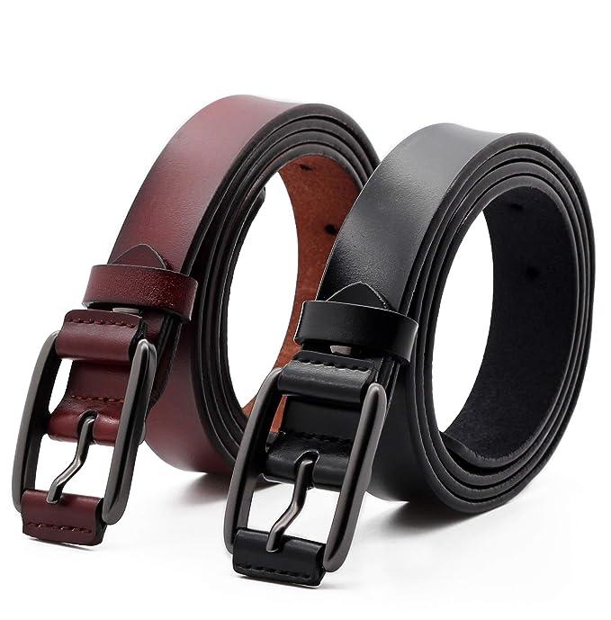 ANDY GRADE Set de 2 Mujer Cinturón Piel de vacuno Moda Cinturones Ajustable Cintura Retro Ropa Para Jeans Pantalones Cortos Vestidos Para Mujeres Con ...