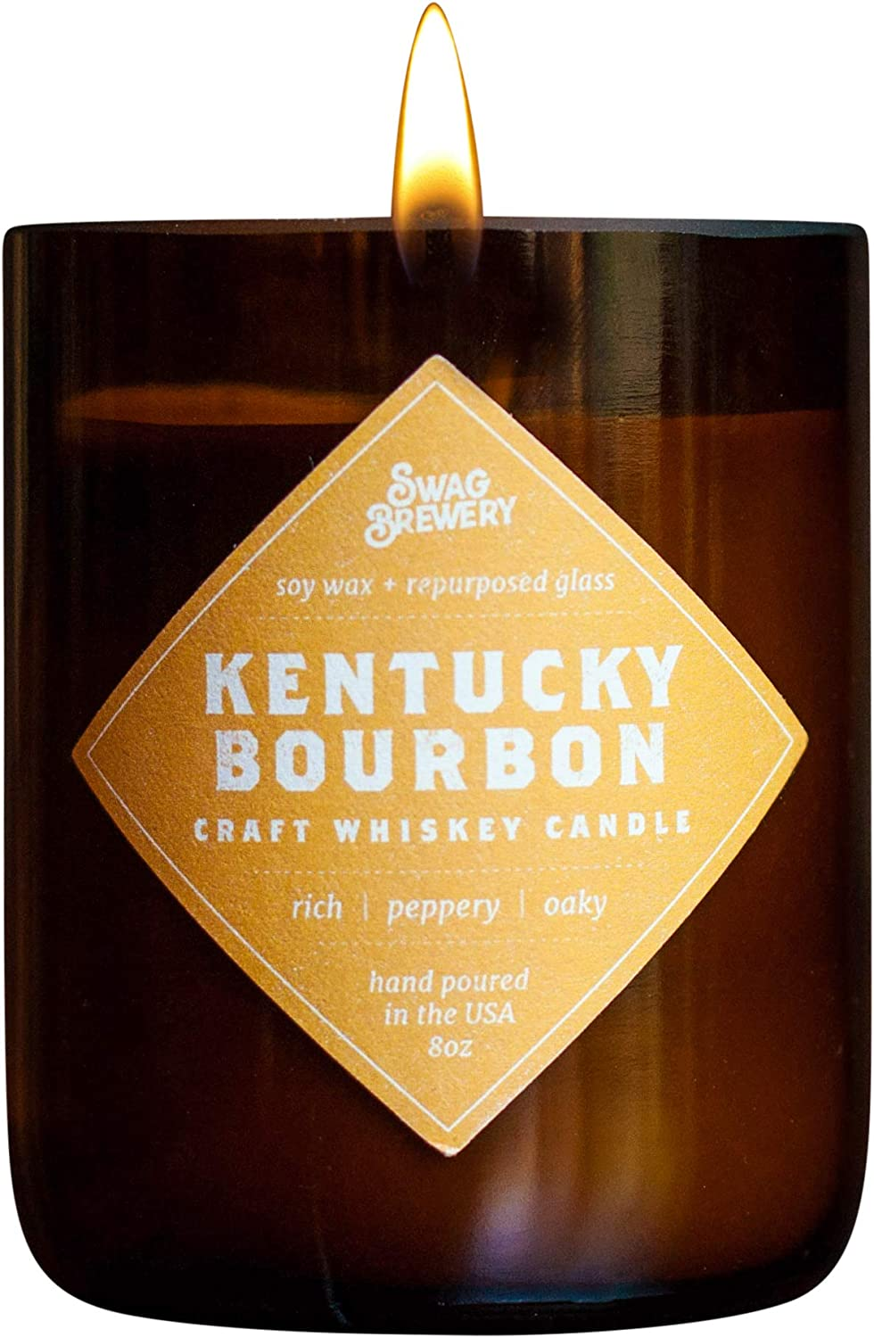 Swag Brewery Kentucky Bourbon Brew Candle - Whiskey Gift, Guy Gift, Scotch, Bourbon, Whisky, Man Cave Beer Bottle CandleMADE in USA