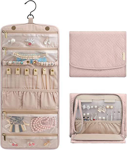 Amazon Com Bagsmart Travel Hanging Jewelry Organizer Case Foldable Jewelry Roll With Hanger For Journey Rings Necklaces Bracelets Earrings Soft Pink Home Kitchen