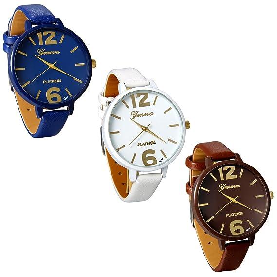 JewelryWe 3pcs Relojes de Pulsera de Mujer Para El Verano, Correa de Cuero Reloj Plano