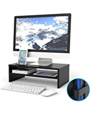1home Wood Monitor Stand TV PC Laptop Computer Screen Riser Desk Storage 2 Tiers Black, W420 x D235 x H142mm (with Smartphone Holder and Cable Management)