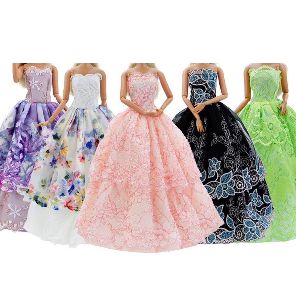EADBYG 5Pcs Handmade Clothes Dress for Barbie Doll Wedding Party Dresses Gown Outfit Costume Suit for 11.5 inch Dolls