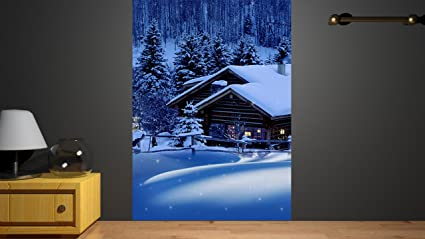 Buy Huts in Mountain Home Décor PVC Large Wall Sticker Wall