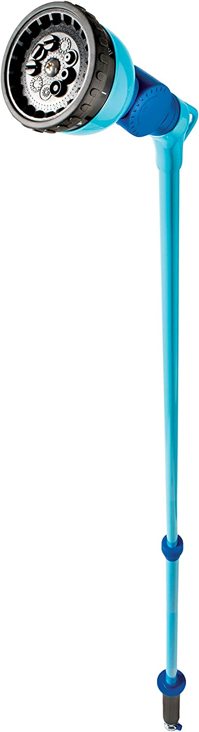 Aqua Joe AJ-WW10-T59 Telescoping 10-Pattern Metal Watering Wand, 53 inch, w/180-Degree Angle Adjustable Head