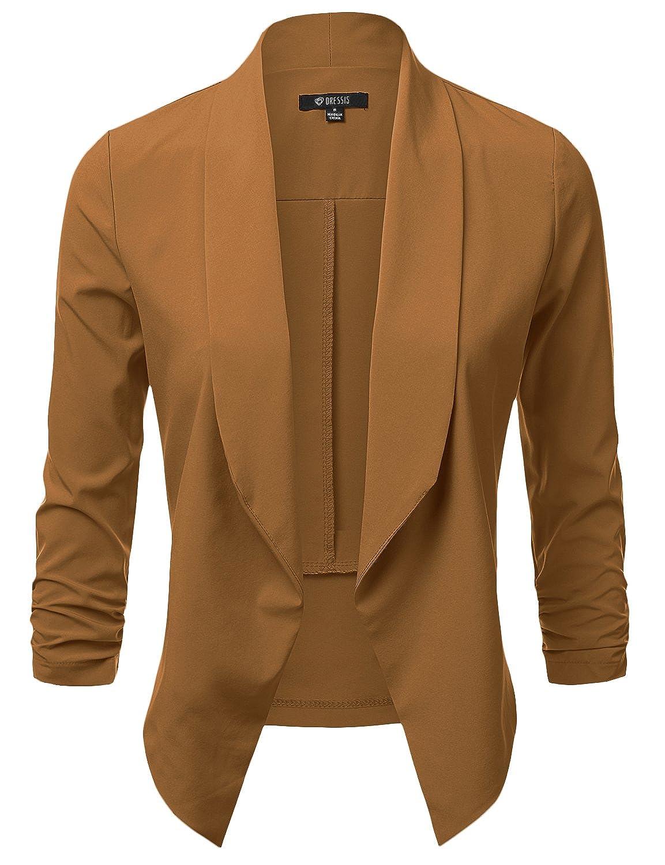 DRESSIS Women's Lightweight Chiffon Ruched Sleeve Open Front Blazer AWOBL0298