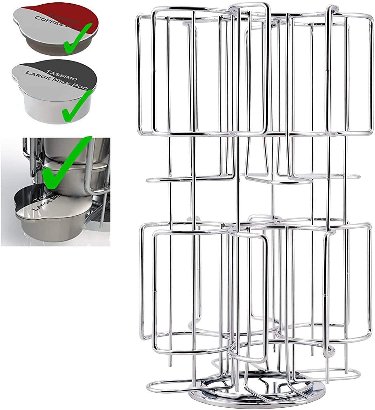 Hengda Kapselhalter Kapselspender,zur Aufbewahrung von 64 Tassimo-Kaffeekapseln,Silber,drehbar