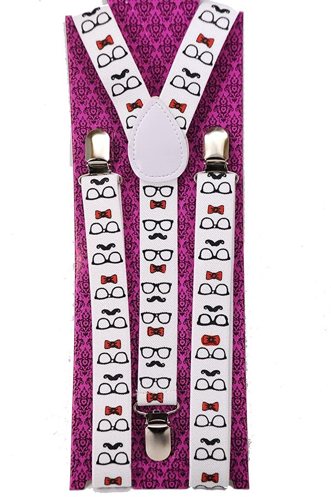 Youth Nerdy Sunglasses Mustaches and Bows Suspenders