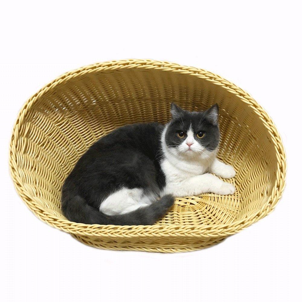 65cm47cm40cm HTZ Cat Nest Summer Autumn Pet Rattan Nest Environmental Predection PP Resin Kennel Rattan Cat House Cat Bed Cat Cool Bed Breathable Pet Supplies Size Optional (Size   65cm47cm40cm)