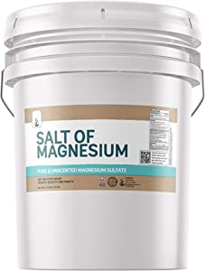 Salt of Magnesium: Pure Epsom Salt (5 Gallon Bucket, 45 lbs) by Pure, USP & Food Grade, Unscented, Soothes Sore Muscles, Natural Exfoliant, Anti-Inflammatory