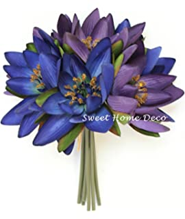 Amazon lotus blossom lily pad silk flower arrangement home sweet home deco 9 silk lotus flower bouquet 6 stems6 flower mightylinksfo