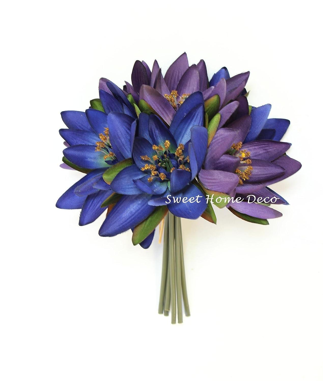 Amazon sweet home deco 9 silk lotus flower bouquet 6 stems6 amazon sweet home deco 9 silk lotus flower bouquet 6 stems6 flower heads for wedding home decoration bluepurple home kitchen izmirmasajfo