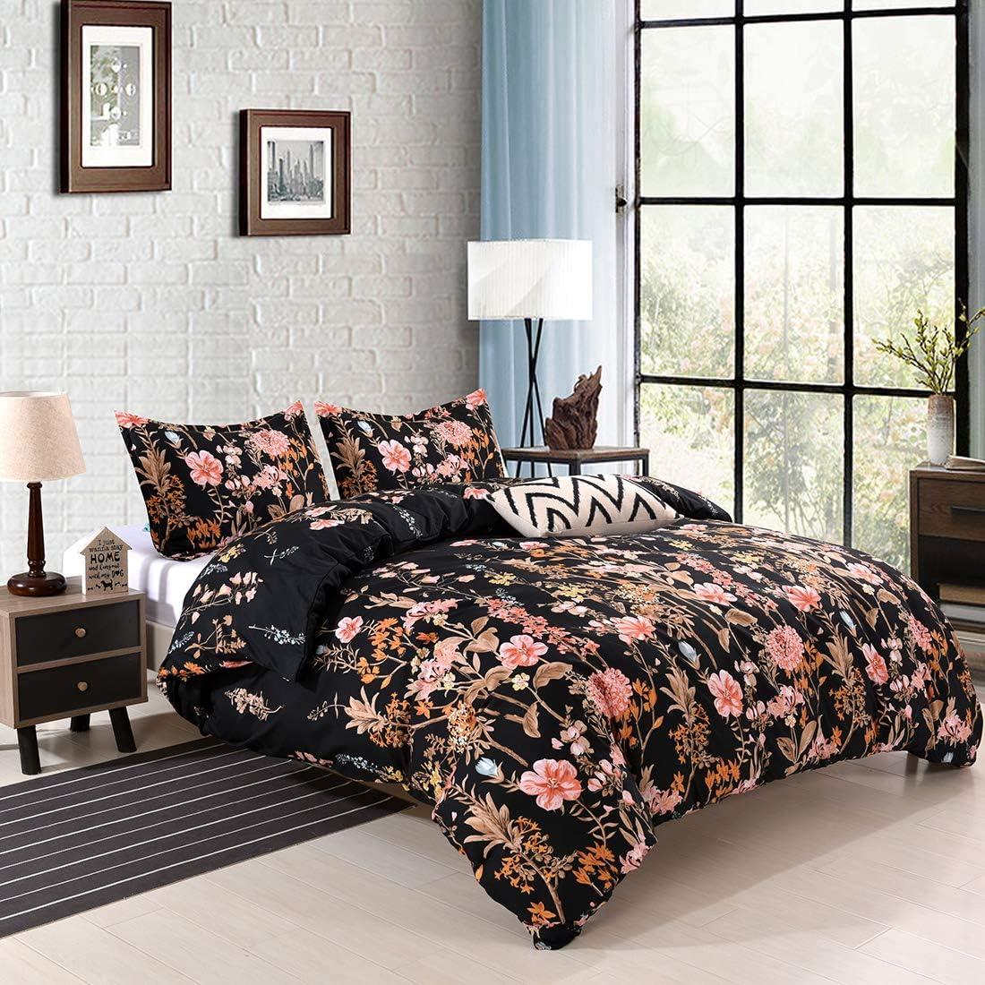 YMY Lightweight Microfiber Bedding Duvet Cover Set, Floral Print Pattern (Black, Queen)
