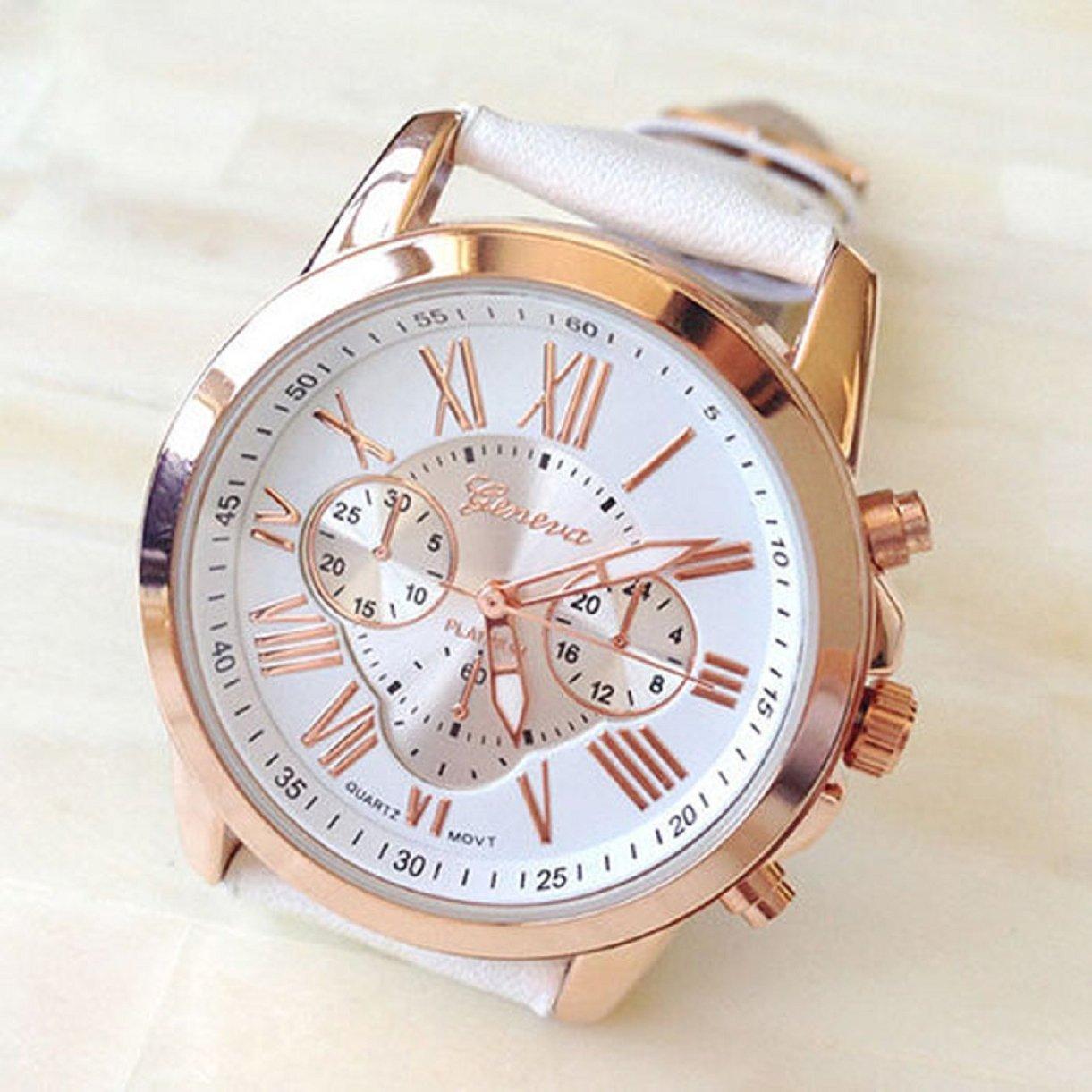 Amazon.com: Lookatool® Ladies Women Girl Roman Numerals Faux Leather Analog Quartz Wrist Watch (White): Health & Personal Care