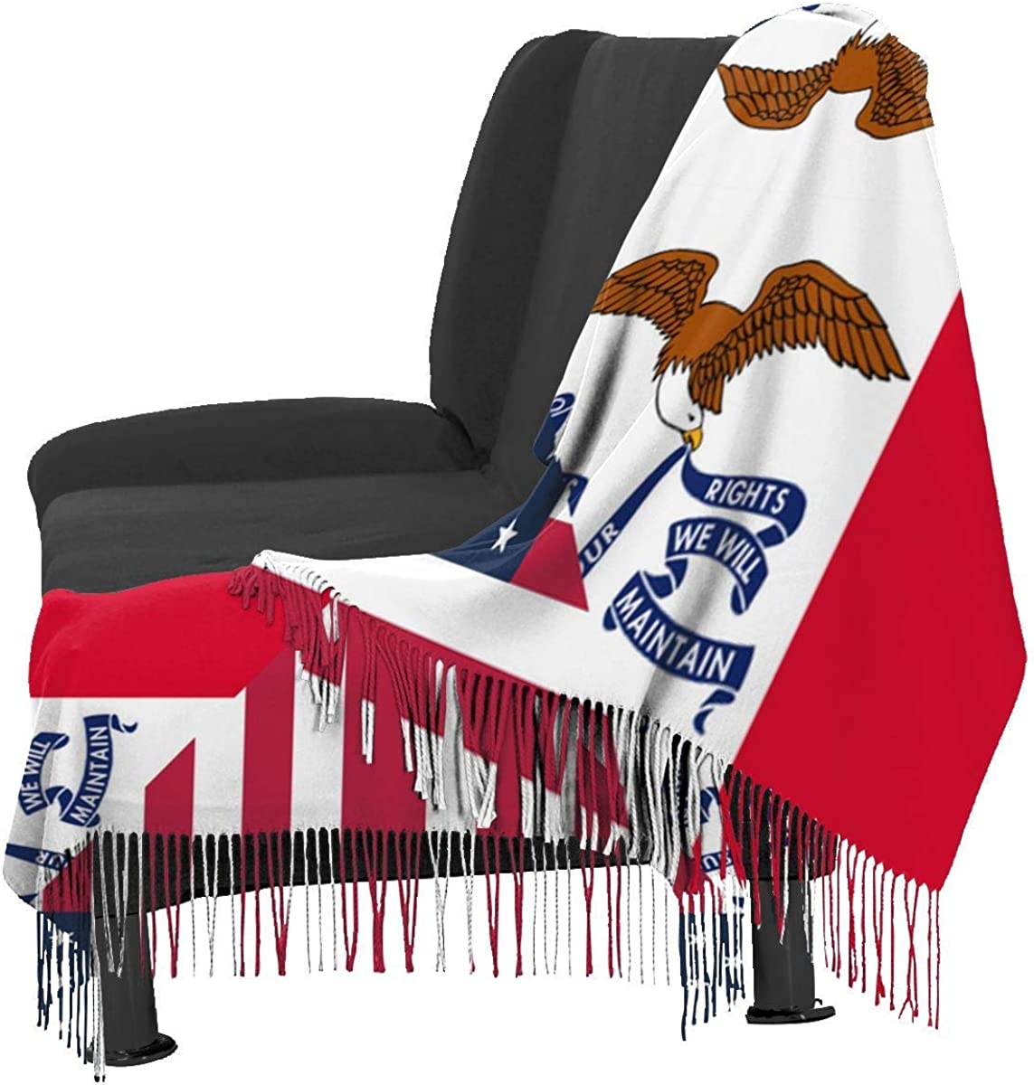 American and Iowa State Flag2 Cashmere Scarf Shawl Wraps Super Soft Warm Tassel Scarves For Women Office Worker Travel