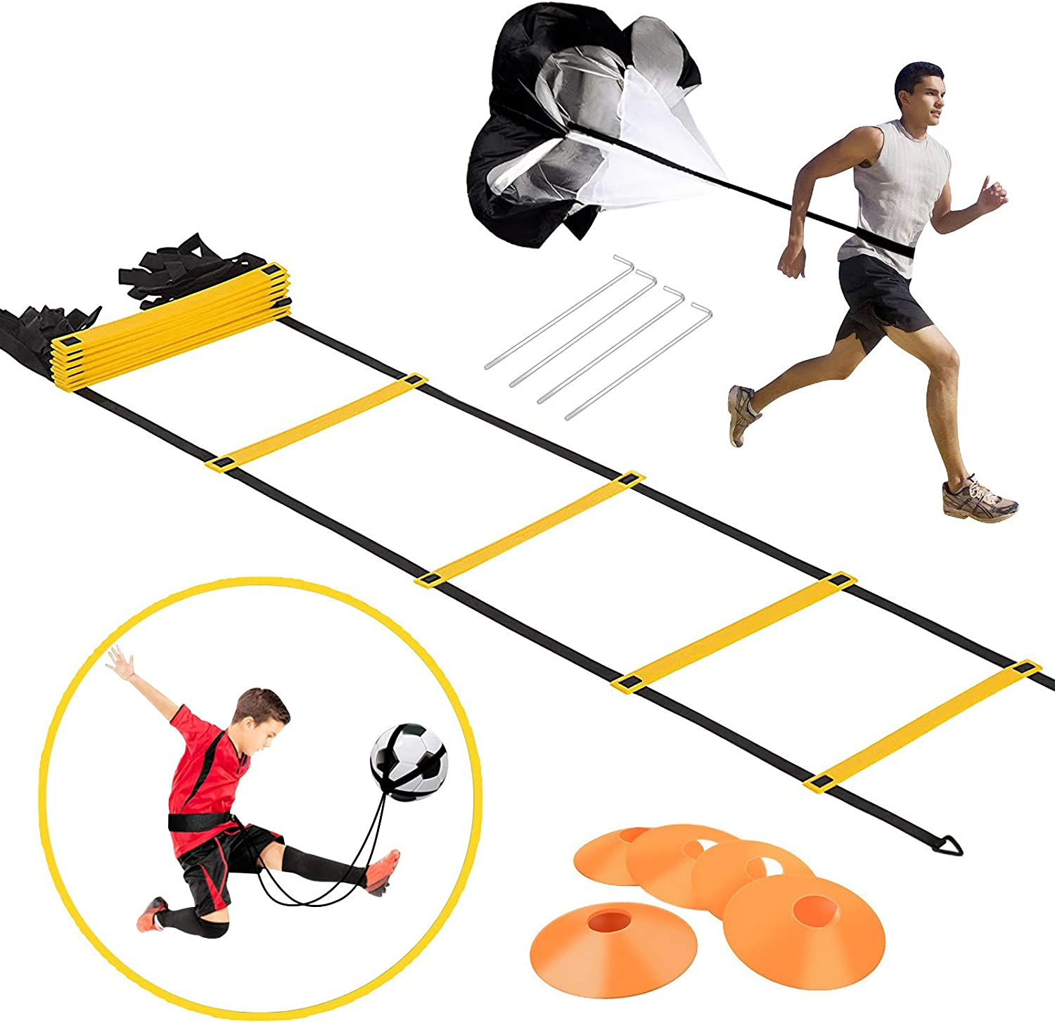 157x20inchs Explosive Power and Strength for Soccer Football Speed Agility Training with Carrying Bag Toonshare Pro Agility Ladder Training Equipment Set Speed Improves Coordination