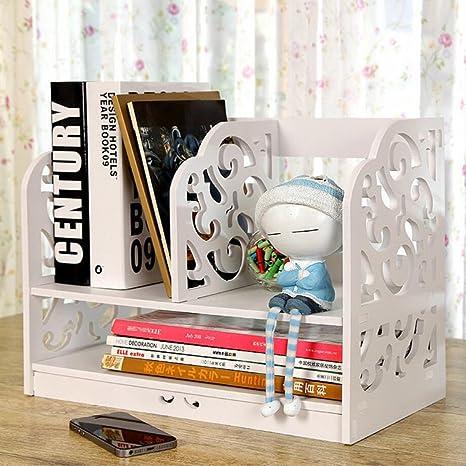 Riipoo Book Shelf PVC Desk Bookshelf 2 Tier Bookcase Folder File
