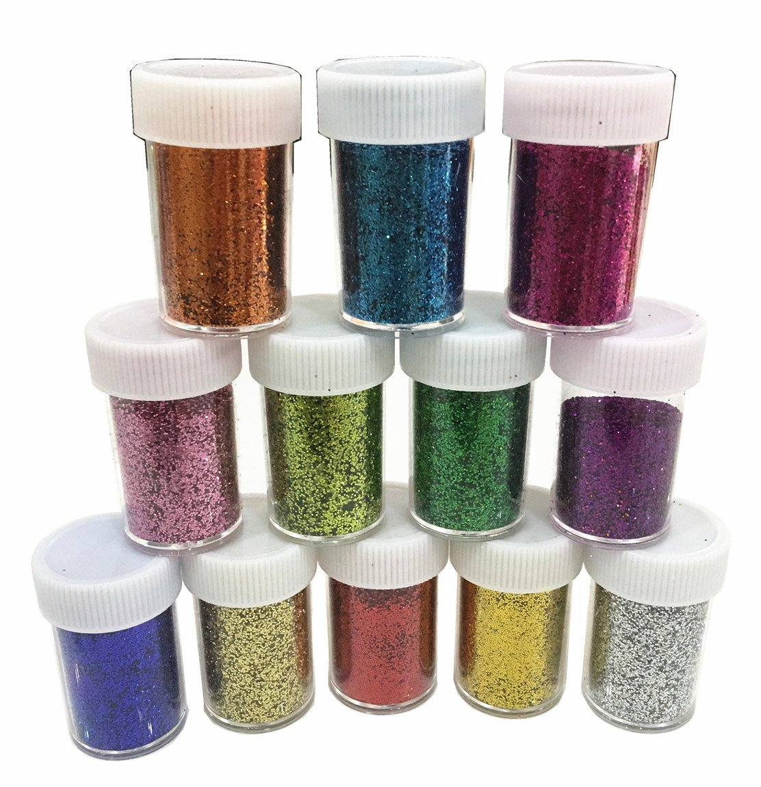 Slime Supplies Glitter Powder Sequins for Slime,Arts Crafts Extra Solvent Resistant Glitter Powder Shakers,Bulk Acrylic Polyester Craft Supplies Glitter Loose Eyeshadow,12 Pack (24 small pack glitter) Kiikool 4336855309