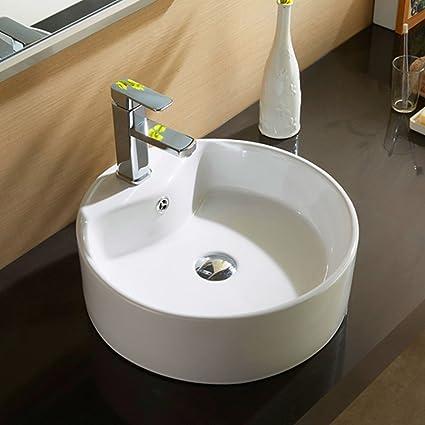Round sink bowl Ceramic Bowl Mecor Round White Porcelain Ceramic Vessel Sink Bowl Bathroom Basin Wpopup Drain Amazoncom Amazoncom Mecor Round White Porcelain Ceramic Vessel Sink Bowl Bathroom Basin