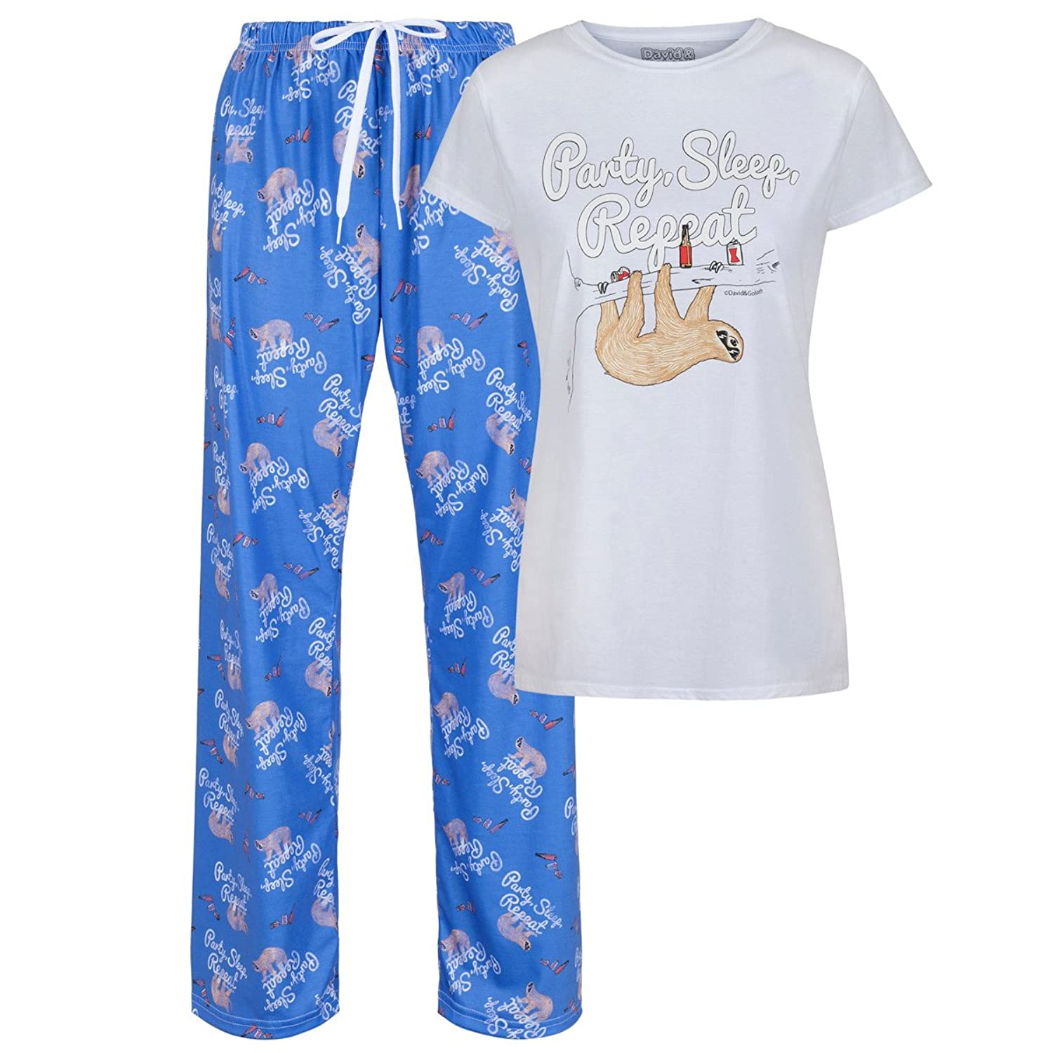 David and Goliath PJ Set - Party, Sleep, Repeat, Sloth - White